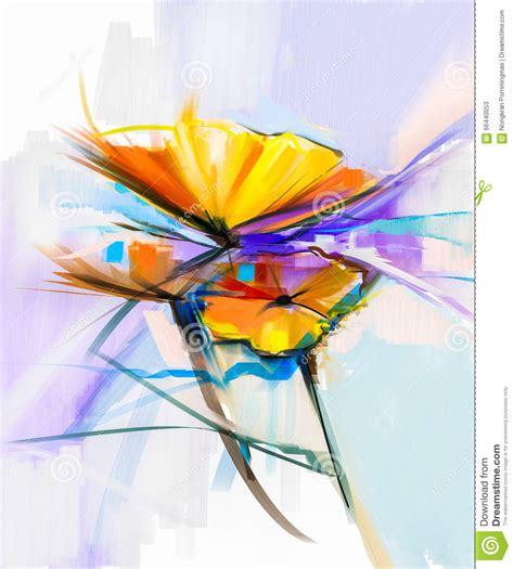 peinture moderne abstraite fleurs peinture 224 l huile abstraite des fleurs de ressort la vie toujours de la fleur jaune et de