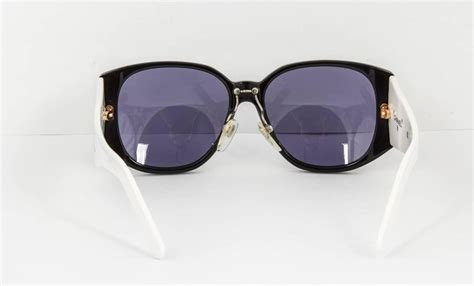 Chanel Black And White Logo Sunglasses At 1stdibs