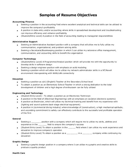 Sales Objective For Resume by Sle Resume Objective 8 Exles In Pdf