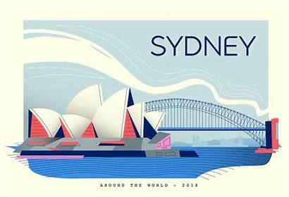 Postcard Illustration Vector Sydney Landmark Flat Seattle