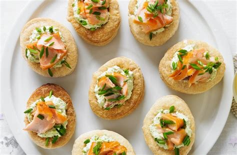 50 and easy canapes smoked salmon and pea vol au