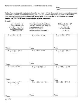 Changing Vertex Form to Standard Form Worksheet of