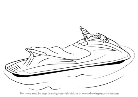 How To Draw A Ski Boat by Learn How To Draw A Jet Ski Water Sports Step By Step
