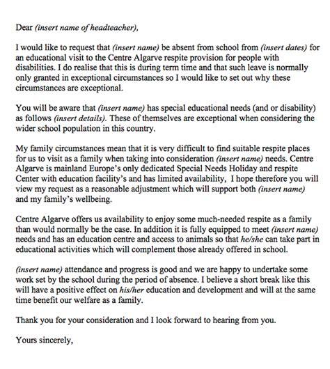 letter  leave  school holidays centre algarve