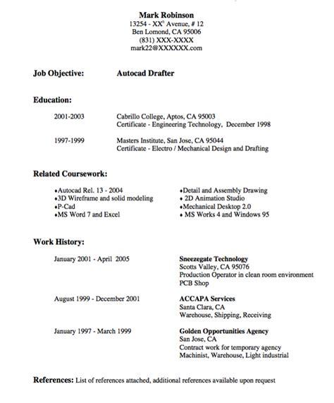 Drafting Resume by Autocad Drafter Resume Sle Http Exleresumecv Org