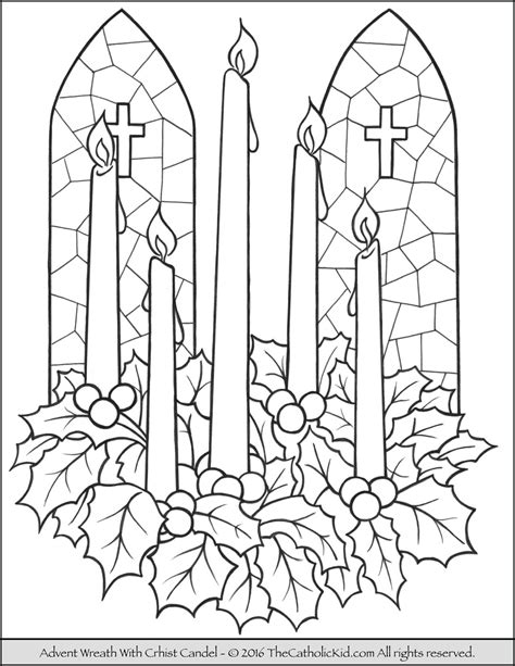 advent wreath christ candle coloring page advent