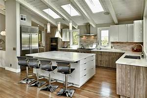 Modern Rustic Kitchen With White Gloss And Gray Cabinets