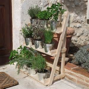 3 tier wooden flower stand herb plant pot shelves garden