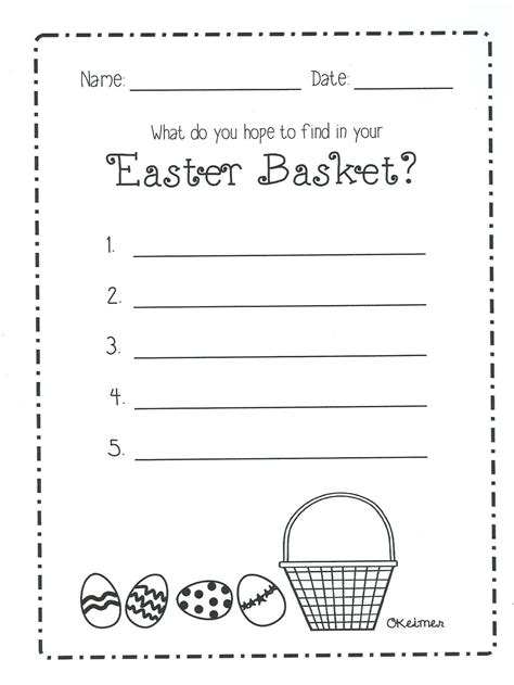 easter basket writing activity some divine intervention