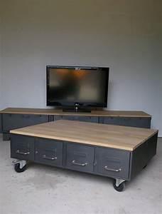 Table Basse Style Industriel : table basse style industriel chene acier heure cr ation ~ Melissatoandfro.com Idées de Décoration