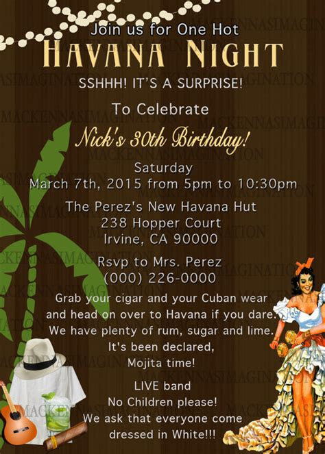 cuban cuisine in miami nights birthday invite digital