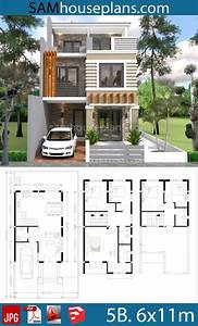 House Plans 6x11m With 5 Bedrooms Plot 8x16m