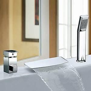 Robinet Cascade Baignoire : deux poign es contemporaine cascade chrome robinet de baignoire avec douche main grande ~ Nature-et-papiers.com Idées de Décoration