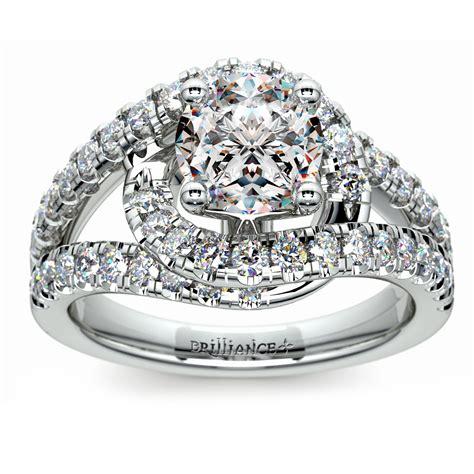 split shank wrap engagement ring in platinum