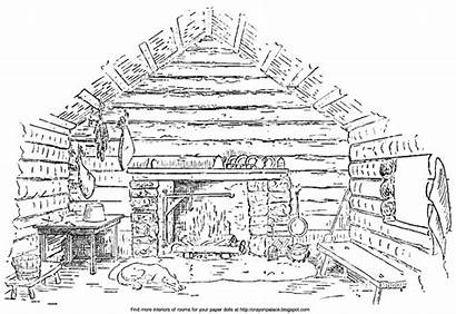 Fireplace Woods Cabin Coloring Log Fire Rustic