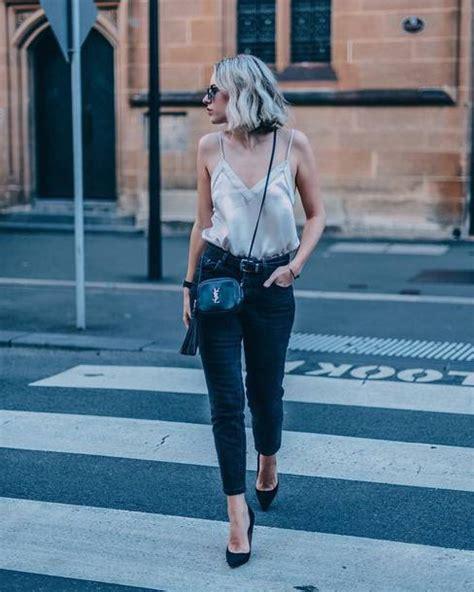 Top satin top black heels date outfit tumblr white top satin spaghetti strap denim ...