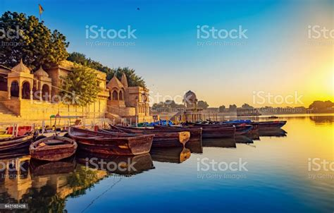 Gadi Sagar Lake Jaisalmer Rajasthan With Ancient Temple ...