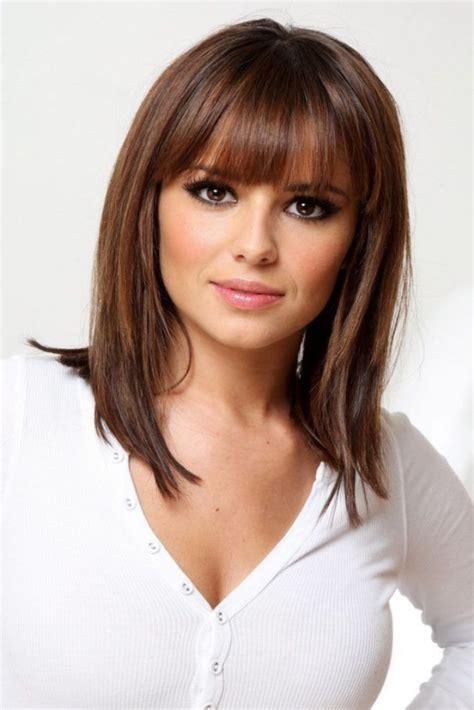 medium length hairstyles  bangs  fine hair beauty