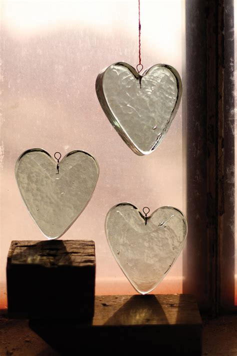 recycled hanging glass heart heart suncatcher glass