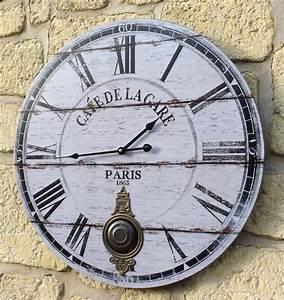 Grande Pendule Murale : style ancienne grande horloge pendule murale ronde a balancier de cuisine salon couleur deco ~ Teatrodelosmanantiales.com Idées de Décoration