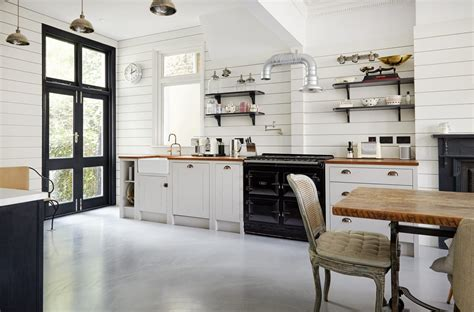 shiplap wood paneling   classic english kitchen remodel