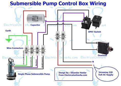 single phase 3 wire submersible pump control box wiring diagram circuits in 2019 submersible