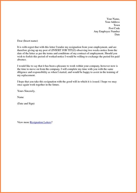 sample  resignation letter  weeks notice notice