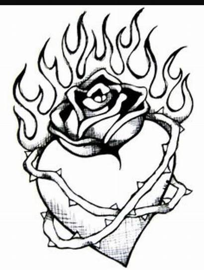 Coloring Pages Heart Sad Drawing Broken Flames