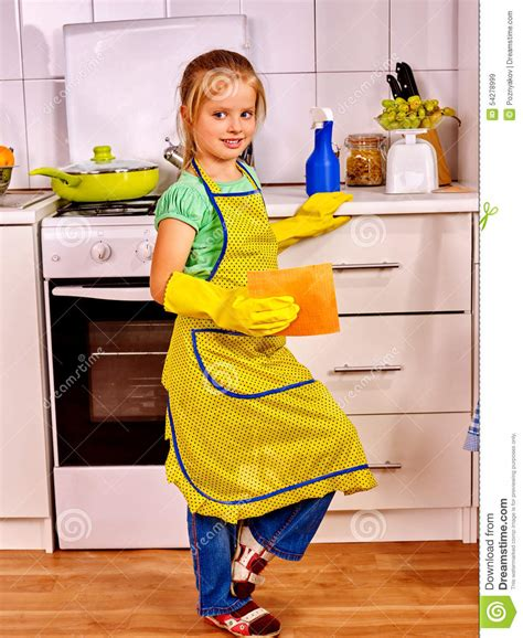 kitchen faucet with filter children cleaning kitchen stock photography