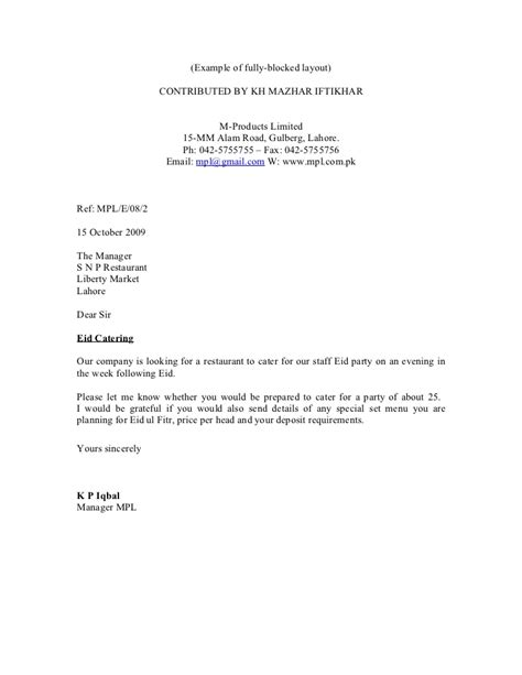 business letter template full block style sample