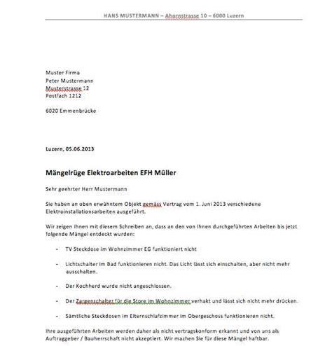 Maengelruege Und Maengelbeseitigung by Quittung Vorlage Schweiz Muster Vorlage Ch