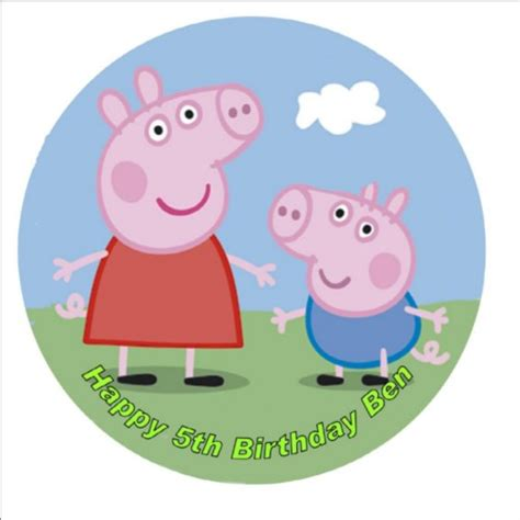 peppa pig personalised    icing cake topper