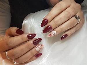 Nails Extensions Acrylic Nails Red Nails Oval Stock Image ...