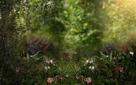 fantasy garden art flowers garden trees