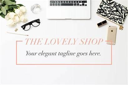 Header Blogger Elegant Hero Creative Mockups Market