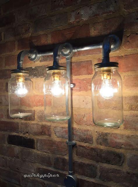 industrial steunk jam jar wall light cafe bar triple kilner jar light light it up glass