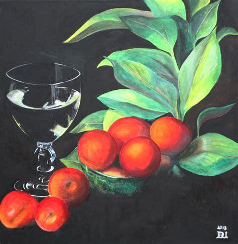 fruechte mit glas fruechte stillleben obst malerei von