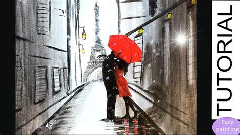 paint couple red umbrella  paris lovers eiffel