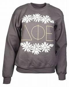 delta phi epsilon flower crewneck by adam block design With custom sorority letter sweatshirts