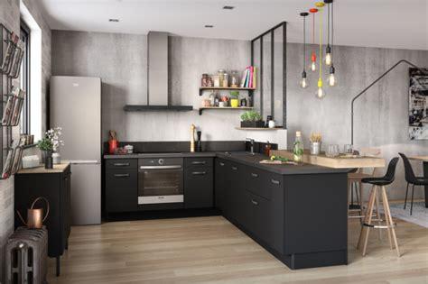 cuisine noir et bois cuisines équipées socoo 39 c