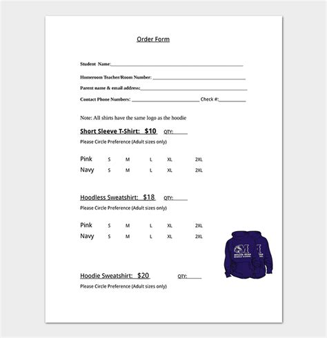 shirt order form template  word excel