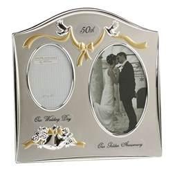 wedding anniversary photo frames silverplated wedding anniversary gifts 50th golden photo picture frame ebay