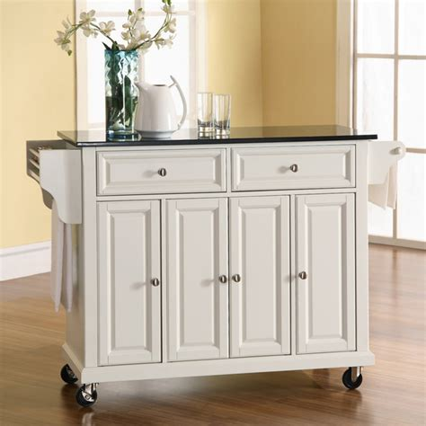 crosley newport granite top kitchen cartisland portable