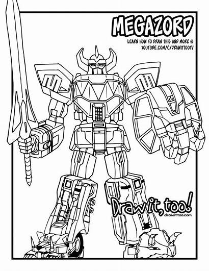 Coloring Power Drawing Megazord Pages Rangers Ranger