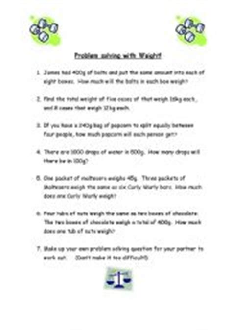 worksheets maths weight word problems