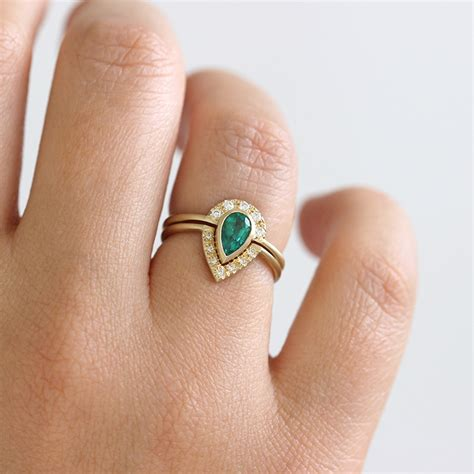 emerald bridal wedding ring set  pave diamonds artemer