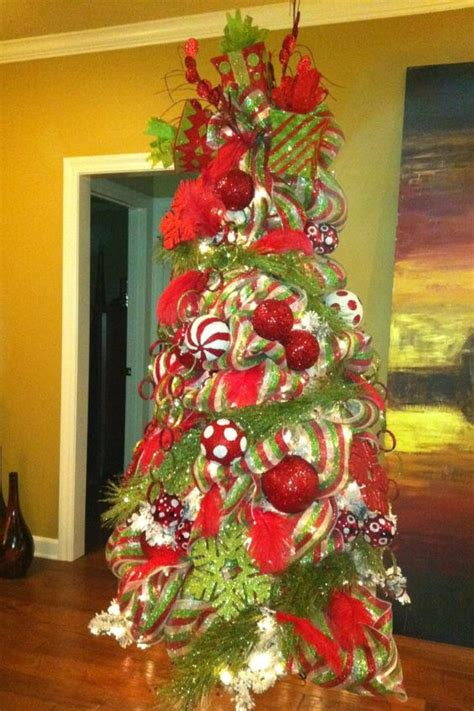 christmas tree with beautifully decorated with red and