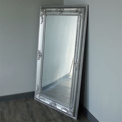floor mirror ornate large silver ornate freestaing wall mirror shabby vintage style chic french ebay