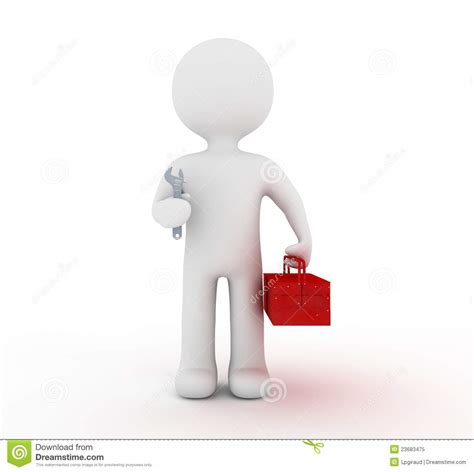 Images Of Characters White Character And Toolbox Stock Illustration Image