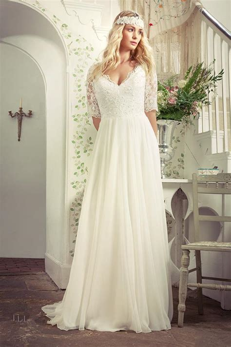 plus size wedding dresses with sleeves v neck sweep